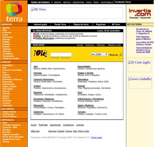 Portal web en 1999